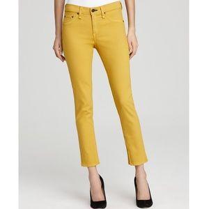 NWT rag & bone Zipper Capri Mustard Denim Jeans